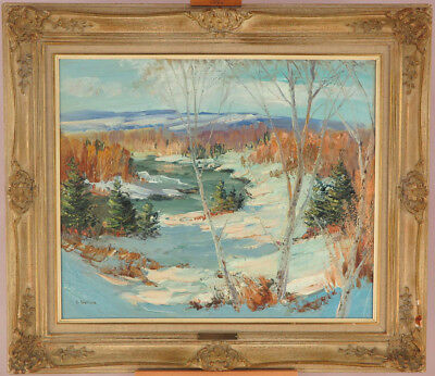 Sydney Berne (1921-2013) Canadian Vintage Oil/Canvas Quebec Winter Landscape