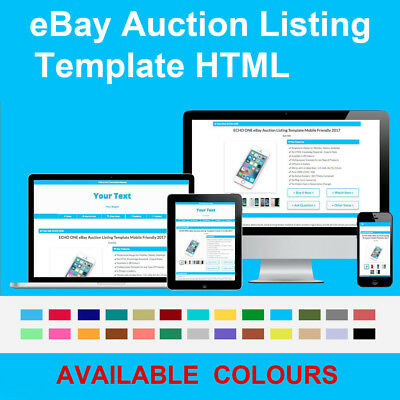 Blue eBay Auction Listing Template Responsive Image Photo Gallery 2018 HTML
