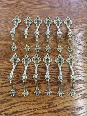 Set of 12 Shiny Vintage Brass Cabinet Pulls Handles With Screws