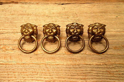 Set of 4 Lion Head Drawer Pulls Handles Knockers Vintage Brass
