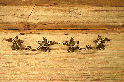 Set of 2 Vintage Brass Drawer Pulls Victorian Ornate Handles