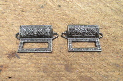 Set of 2 Vintage Cast Iron Drawer Pulls with Tag Slot Victorian Ornate Handle