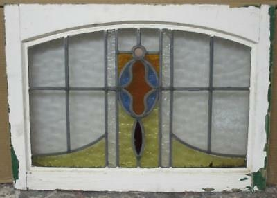 "MID SIZED OLD ENGLISH LEADED STAINED GLASS WINDOW Pretty Geometric 25"" x 16"""