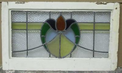 """MID SIZED OLD ENGLISH LEADED STAINED GLASS WINDOW Floral Heart 26.5"""" x 15.75"""""""