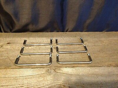 Set of 6 Vintage Chrome Drawer Pulls Handles Dresser Desk Square