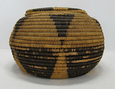 Antique Southwest Native American Indian Hand Woven Lidded Storage Basket #2 yqz