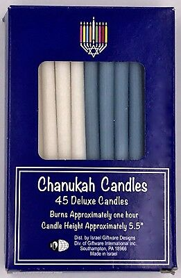 Chanukah Menorah Candles Blue & White 45 Per Box Judaica Jewish Holiday Hanukkah