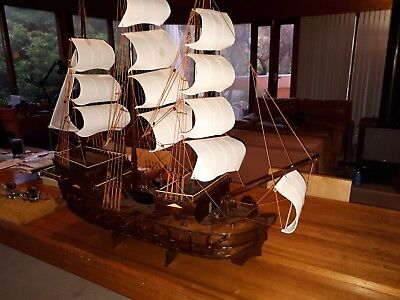 Ship Model ;Beautiful large wooden handmade model of a Galleon