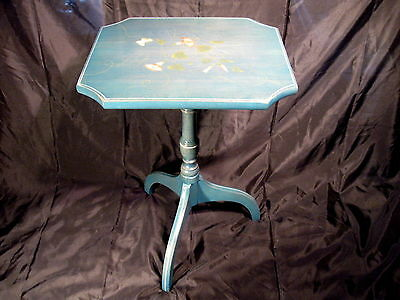 Lambert Hitchcock Blue Stenciled Candle Accent Table