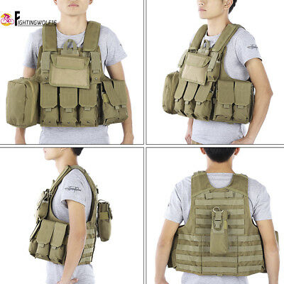 Tactical Vest + Molle Accessory Pouch Bag Airsoft Hunting Army Plate Carrier Tan