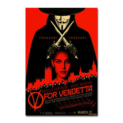 V for Vendetta Classic Movie Characters Silk Poster Art Prints 12x18 24x36 inch