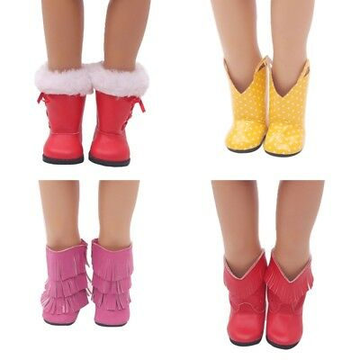 4 Colors Handmade Doll Shoes Boots For 18 Inch Girl Doll Accessory Toy Gift New