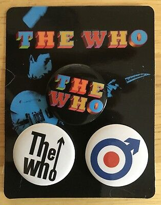 The Who Set of 3 Badges / Pins / Buttons - Exclusive 2017 VIP Package Merch