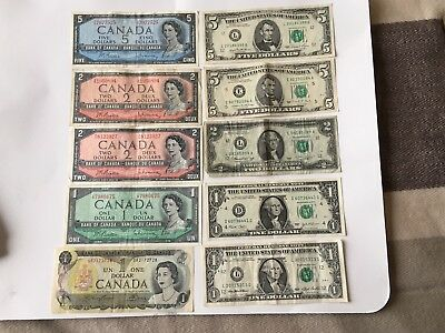 Set of USA and Canada banknotes $1,$2,$5, 1950-1980, 10 banknotes NICE LOT!!!!
