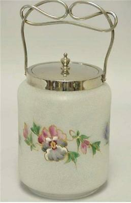 "Art Glass Biscuit Jar 10 1/2"" Tall Used"