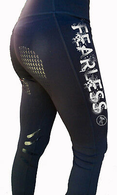 """**heels Down Clothing** Riding Performance Tights* Fearless"""" Print.."""