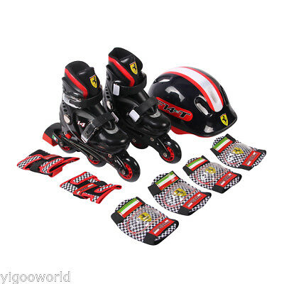 Kids Inline Skates Roller Blades Skates Combo Set +Safety Gear Pad Guard Helmet