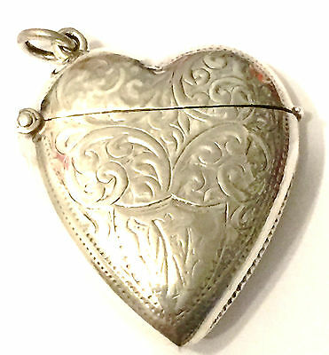 Sterling Silver Heart Engraved Vesta Case