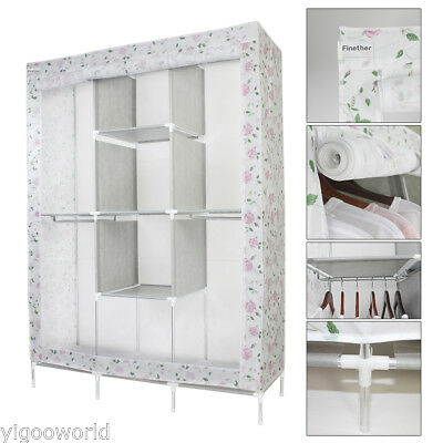 Triple Fabric Canvas Wardrobe Cupboard Hanging Home Clothes Rail Storage Shelves