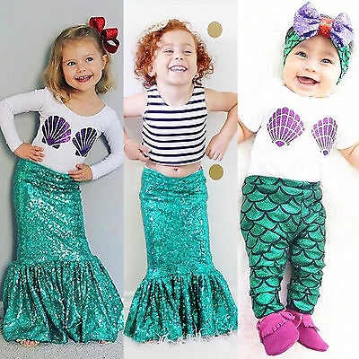 Mermaid Set Baby Girl T-shirt Sequin Skirt Pants 2/3pcs Outfit Cosplay Costume