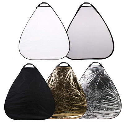 110cm 5 in 1 Round Light Collapsible Photo Reflector Board Disc w/ Handle Grips