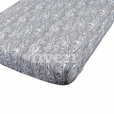 Danha Premium Fitted Cotton Crib Sheet With Grey Wood Grain Print – Standard – –