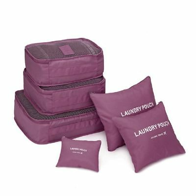 Set of 6 Travel Organizer Packing Cubes Luggage Suitcase Bag Accessories Pouch