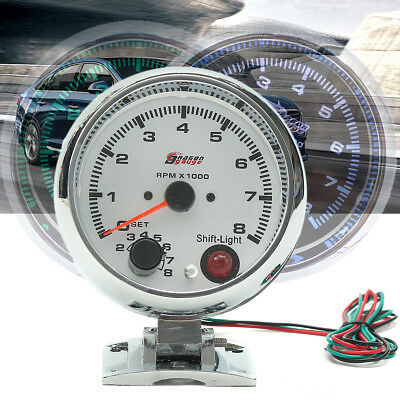 Universal 12V Tachometer Tacho Gauge Meter 0-8000 RPM W/ 7 Color LED Backlight