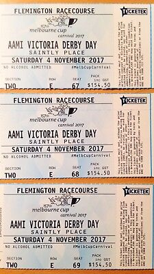3 x AAMI Victoria Derby Day 4 November 2017 Saintly Place tickets