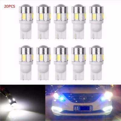 20 X T10 W5W 168 194 5630 6SMD Canbus Error Free Wedge White LED Light bulbs