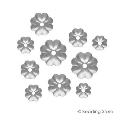 12 or 100 925 Sterling Silver 4mm or 4.5mm Bead Caps Flower Fluted Cap