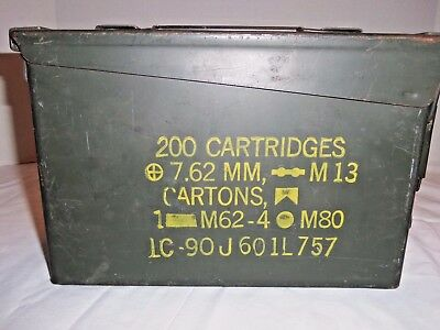Vintage Military Metal Ammo Box 200 Cartridges 7.62MM NATO M80 M13 Empty Can