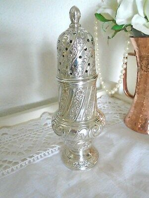 Lovely Heavy Vintage Decorative Silver Plated Sugar Shaker