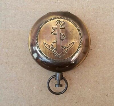 Collectible Solid Brass Push Button Compass Stanley London Pocket Compass
