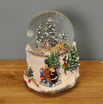 16cm Musical Forest Scene Christmas Snow Globe Decoration by Premier