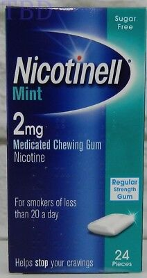 NICOTINELL MINT GUM 2mg Medicated Chewing Gum Sugar Free 24 pieces EXP 08/18