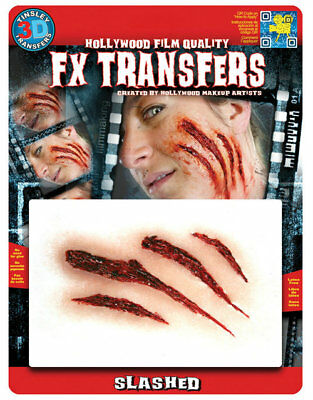 Tinsley Transfers 3D Fx Transfers Slashed Halloween Flesh Wound Claw Marks
