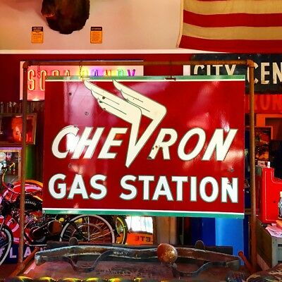Beautiful Original Chevron Gas Station Porcelain  Double Sided Sign WILL SHIP!