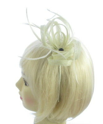 cream off white twisted sinamay with black bead headband, weddings, races