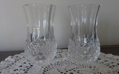 Pair Small Crystal Vases Excellent