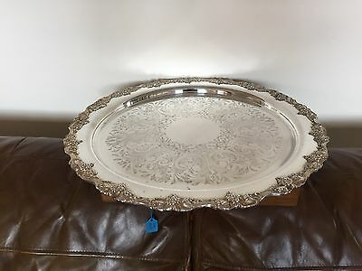 Stunning Very Large Quality Silver Plated Circular Tray Decorated With Grapes