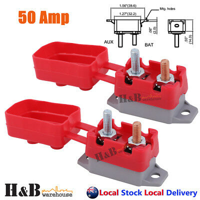 2X50A AMP 12V Circuit Breaker Cover Stud Type Fuse Automatic Auto Reset C0141