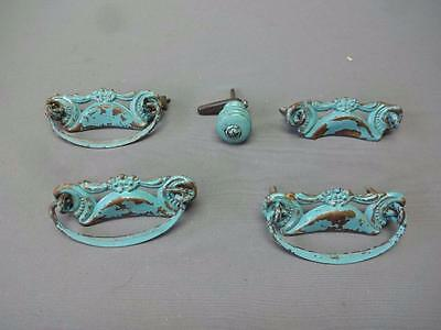 Antique Turquoise Drawer Pulls Vintage Art Deco Mid Century Shabby Chic
