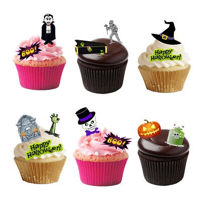 54 Stand Up Mixed Halloween Edible Wafer Paper Cupcake Cake Toppers