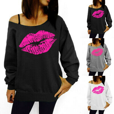 Womens Lip Print Pullover Jumper Tops One Shoulder Long Sleeve Blouse Shirt Tee