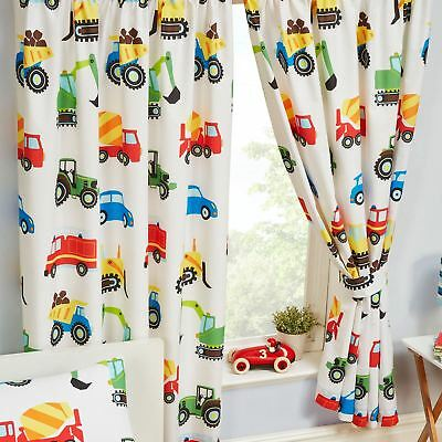 "TRUCKS & TRANSPORT LINED CURTAINS CHILDRENS BEDROOM 66"" x 72"" (168cm x 183cm)"