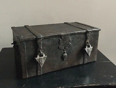 Antique 17th-18th Century Nuremberg Iron Casket Box Chest With Padlocks Locks