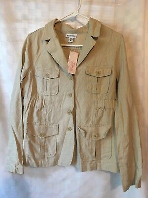NWT~Motherhood Maternity Women's 100% LINEN Jacket Size Medium Tan/Beige