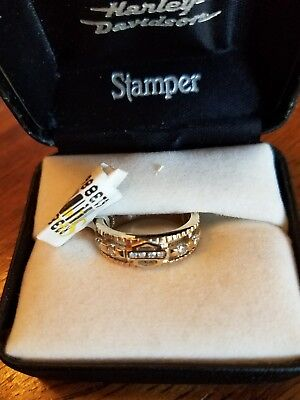 #393 NWT Harley-Davidson women's Stamper gold ring with diamonds, size 6