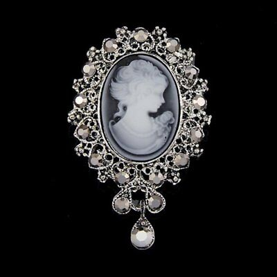 Vintage Cameo Beauty Head Crystal Bouquet Wedding Party Women Brooch Pin Jewelry